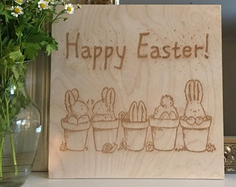 "Happy Easter Wooden Sign - 12"" x 12"""