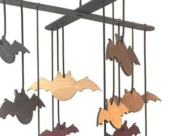 Wooden Bat Mobile - Halloween, Halloween Decor, Halloween Mobile, Bat, Bats, Bat Decor, Home Decor, Wooden Mobile, Bat Shapes