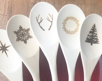 """Holiday Wooden Spoons, Color Dipped-Laser Engraved Wooden Spoons, Christmas Gift, Christmas Decor, Holiday, Kitchen Utensils - 12"""" -Set of 6"""