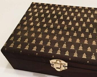 Christmas Tree Patterned Wood Box- Wooden Box, Walnut Wood Box, Wood Box, Christmas Box, Christmas Decor, Memory Box, Photo Box, Storage Box
