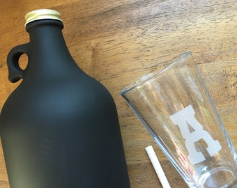 Chalkboard Beer Growler, Monogrammed Pint Glass Set - Home Brewer, Beer Drinker, For Him, Laser Engraved, Custom Pint Glass, Groomsmen Gifts