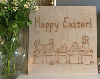 """Happy Easter Wooden Sign - 12"""" x 12"""""""