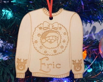 Personalized Ugly Christmas Sweater Ornament - Custom Ornament, Christmas Present, Personalized Ornament, Christmas Tree, Wooden Ornament