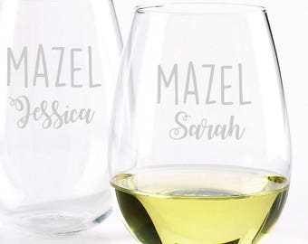 Mazel Personalized Glassware Set - Set of 2 -Choose Your Style of Glassware - Mazel, Mazel Tov, Bridesmaids Gift, Housewarming, Celebrate