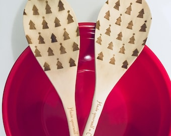 Have Yourself a Merry Little Christmas Wooden Spoons - Set of 2 - Merry Christmas, Kitchen Utensils, Christmas Gift
