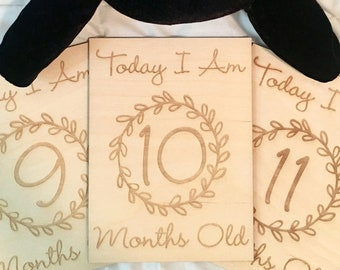 Wooden Milestone Cards - Baby Shower, Children's Photo Props, Gifts for Baby, Baby Gifts, Newborn, Milestones, New Mom