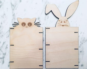 Yarn/Twine Organizer - Wood Yarn and Twine Organizer, Crafts, Craft Organization- Choose from a Bunny or a Cat