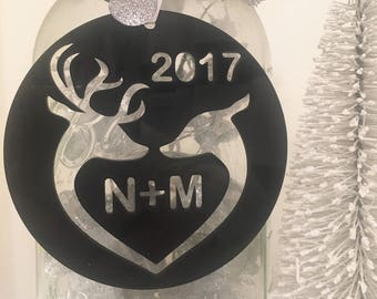 Stunning Acrylic Heart Deer Ornament With Gift Box - Christmas Ornament, Christmas Gift, Deer Ornament, Acrylic Ornament, Customize