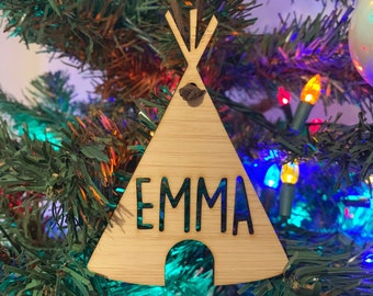 Personalized TeePee Bamboo Ornament - Custom Ornament, TeePee, Christmas Ornament, Christmas Gift, Kids Ornament, Custom Children's Ornament
