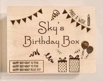 Birthday Box - Personalized Box, Wooden Box, Gift Box, Custom Wooden Box, Custom Box, Happy Birthday, Birthday Present, Birthday Box