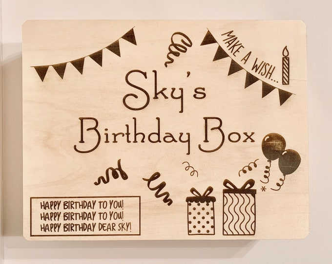 Featured listing image: Birthday Box - Personalized Box, Wooden Box, Gift Box, Custom Wooden Box, Custom Box, Happy Birthday, Birthday Present, Birthday Box