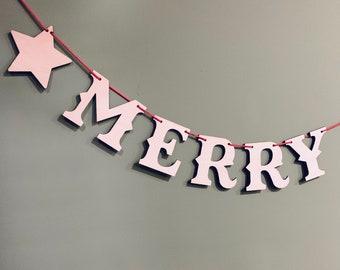 Merry Christmas Garland - Wooden Garland, Christmas Bunting, Christmas Decor, Christmas Decorations