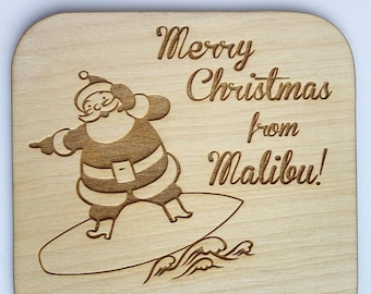 Santa Claus in Malibu Wooden Christmas Card - Funny Card, Wooden Card, Merry Christmas, Christmas Gift, Christmas Present, Funny Christmas