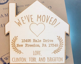 Custom Moving Announcements - Wooden Moving Announcements, Personalized Moving Announcements, We're Moving, Housewarming, Custom Magnets