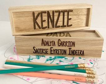 Custom Pencil Box - Personalized Pencil Box, Wooden Box, Wooden Pencil Box, Custom Box, Engraved Box, Personalized Box