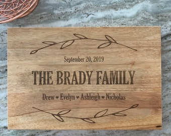 """Large Custom Cutting Board Family Name - Wooden Cutting Board, Personalized Cutting Board - 18"""" x 12"""" x 1 3/4"""""""