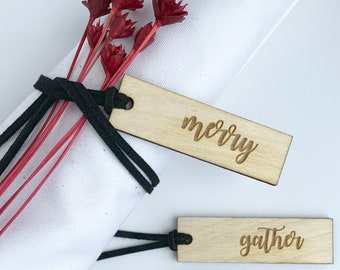 Thankful Tags, Merry Tags, Blessed Tags, Gather Tags - Set of 12 - Christmas Table, Thanksgiving Table, Wooden Tags, Napkin Rings