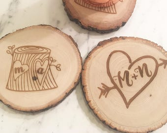 Love Wood Slice Coaster Set, Set of 2 or 4, Wood Coasters, Coffee Table, Wooden Coasters, Anniversary, Couple Gifts, Tree Slice Coasters