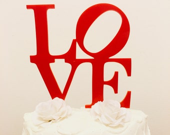 Love Acrylic Cake Topper - Wedding Cake Topper, Anniversary Cake Topper, Birthday Cake Topper, Acrylic