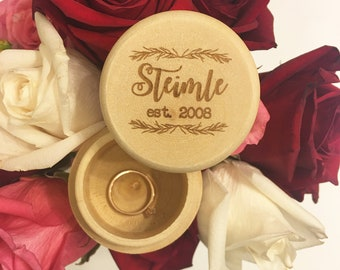 Engraved Wedding Ring Box, Wedding Gift, Custom Ring Box, Wooden Ring Box, Ring Bearer Box, Engraved Wooden Box, Personalized Ring Box