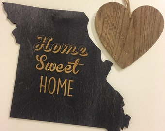 Home Sweet Home State Shape Sign - State Cutouts, State Signs, Home Sign, State Shapes, Wall Decor, Home Decor, State Home Decor