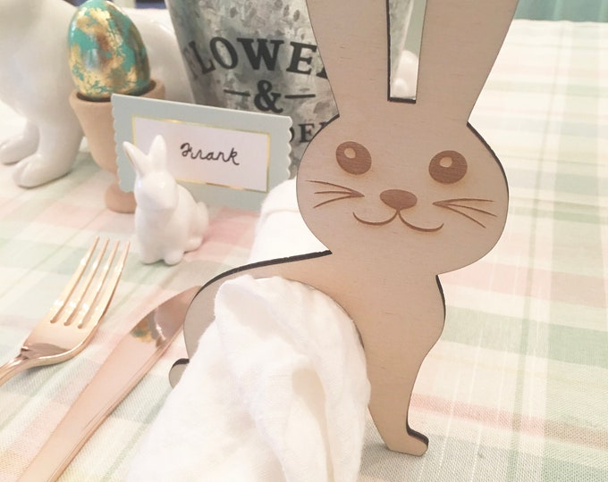 Featured listing image: Bunny Napkin Rings, Easter Napkin Rings, Napkin Holder, Napkin Rings, Easter Decor, Easter Table, Bunnies, Decor, Silverware Rings, Napkins