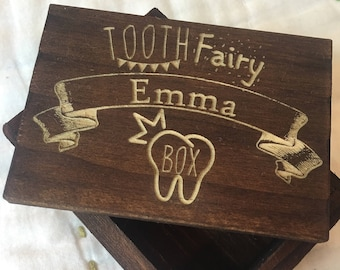 Custom Tooth Fairy Box - Engraved Wooden Box, Custom Wooden Box, Kids Gift, Baby Shower, Kids Birthday, Wood Box, Keepsake Box