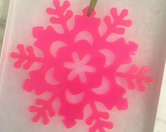 Stunning Acrylic Snowflake Ornament With Gift Box - Christmas Ornament, Christmas Gift, Snowflake, Acrylic Ornament, Pink Ornament