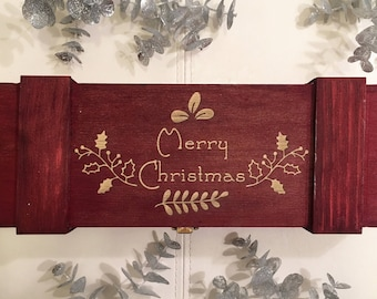 Merry Christmas Wine Box - Wooden Wine Box, Christmas Gift, Christmas Present, Wood Wine Box