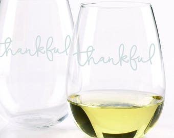 Thankful Glassware Set - Set of 2 - Choose Your Style of Glassware