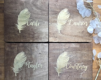 Personalized Wooden Box - For Her, Bridesmaid Gift, Jewelry Box, Gift Box - Choose From 10 Stains - Memory Box, Storage Box, Keepsake Box