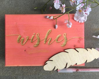 Wishes Guest Book Box - Guest Book Alternative - 10 Colors -Wedding, Baby Shower, Bridal Shower, Retirement, Birthday Party, Wooden Box