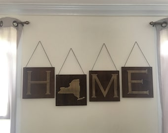 Large Wooden Home Sign - Custom State, Housewarming Gift, Home Decor