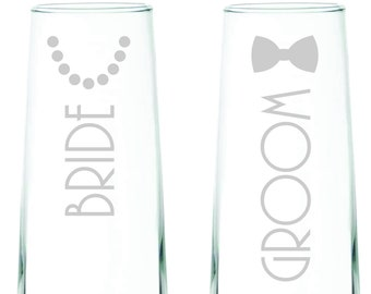 Bride and Groom Stemless Champagne Flutes - Set of 2 - Wedding Glassware, Wedding Gift