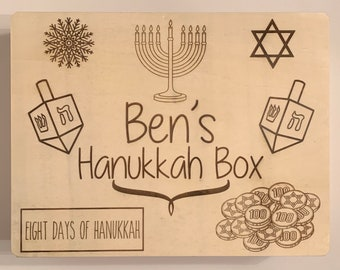 Hanukkah Box - Personalized Box, Wooden Box, Gift Box, Happy Hanukkah, Hanukkah Gift