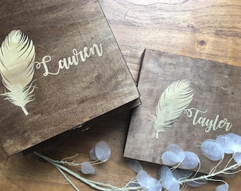 Personalized Wooden Box - For Her, Bridesmaid Gift, Jewelry Box, Gift Box - Choose From Stain Colors - Memory Box, Storage Box, Keepsake Box