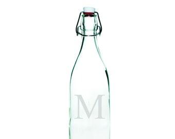 Custom Monogrammed Swing Top Glass Bottles - Round  - Glass Bottle, Water Bottle, Swing Bottle - Custom Monogram