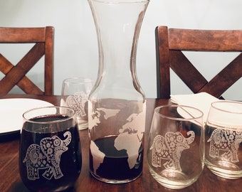 Worldly Wine Carafe and Stemless Wine Glass Set - Set of 5