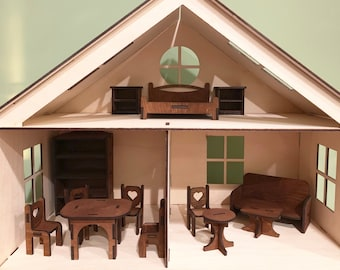 Wooden Dollhouse Kit with Furniture