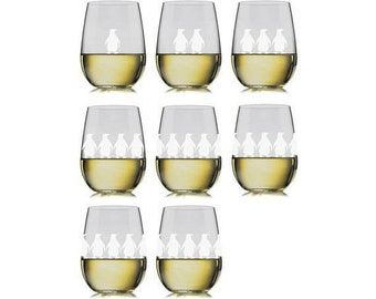 Marching Penguins Glass Set - Set of 8