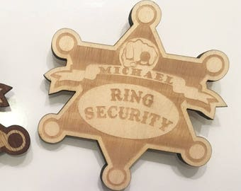 Personalized Ring Security Badge - Ring Security Pin, Ring Bearer, Wedding, Wedding Ring, Custom Engraved, Wooden Ring Bearer Pin