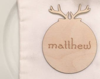 Wooden Antlers Place Cards -  Escort Cards, Wooden Place Cards. Custom Place Cards, Custom Escort Cards, Antlers Place Cards, Seating Chart