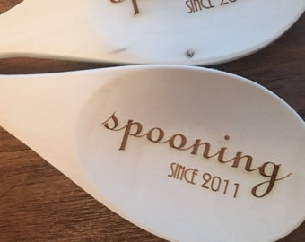 Spooning Wooden Spoons - Set of 2 - Customize with Your Year - Kitchen, Utensils