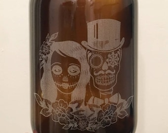 Skull Bride & Groom Beer Growler -64 oz- Beer Growler, Bride and Groom, Amber Beer Growler, Gifts for the Couple, Couple Gift, Wedding Gift