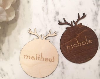Wooden Antlers Place Cards -  Christmas Place Cards, Wooden Place Cards. Custom Place Cards, Antlers Place Cards, Holiday Place Cards
