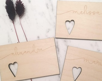 Custom Wooden Place Cards - Wooden Escort Cards, Laser Engraved, Seating Chart, Place Cards, Escort Cards, Custom Place Cards, Favors