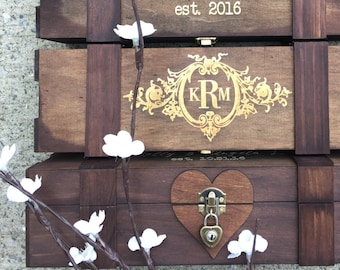 Personalized Wine Box - Time Capsule, Wine Ceremony - Wooden Wine Box, Custom Wine Box, Custom Engraved Wine Box, Rustic Wine Box