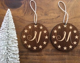 "Custom Wooden Ornament-""Star Spangled"" Design w Gift Box-Personalize with Monogram or Up To 2 Lines of Text- Custom Ornament, Christmas Tree"
