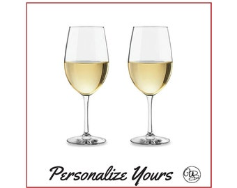 Custom Stemmed White Wine Glasses - Set of 2 - Personalize Yours