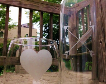 Arrows Heart Etched Bedside Carafe with Glass